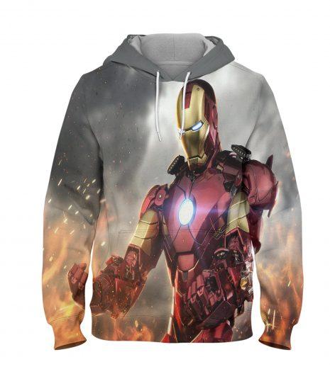 Ironman War Hoodie – 3D Printed Pullover Hoodie