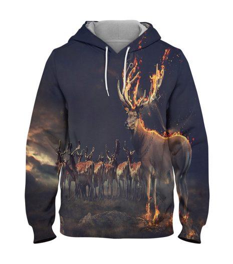 Night Deer Hoodie – 3D Printed Pullover Hoodie