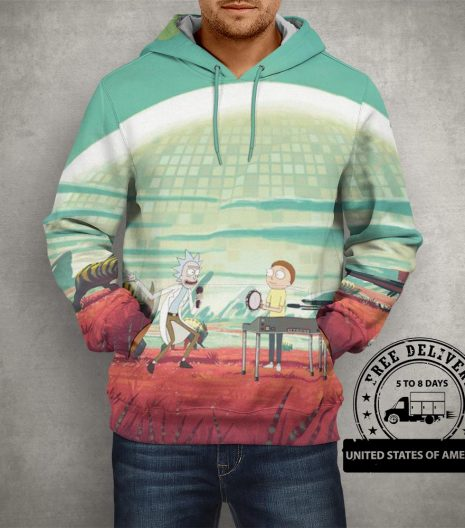 Rick & Morty Party on Planet Hoodie – 3D Printed Pullover Hoodie