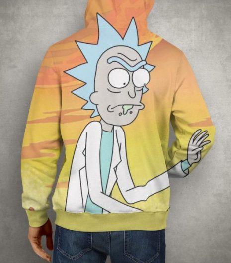 Rick & Morty Scientist Rick Yellow Hoodie – 3D Printed Pullover Hoodie