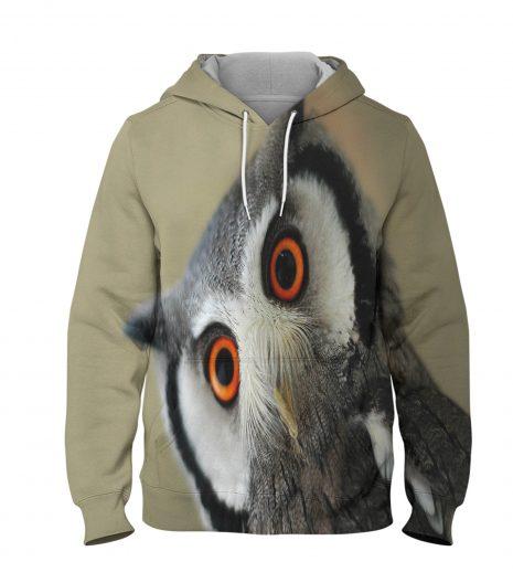 Sharp Owl – 3D Printed Pullover Hoodie