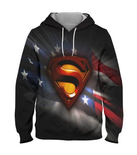 Superman Black Hoodie – 3D Printed Pullover Hoodie