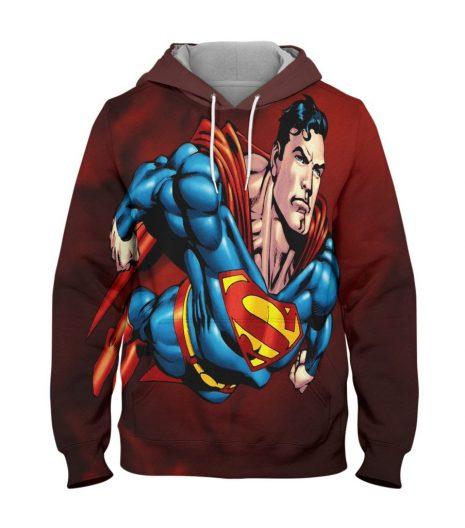 Superman Red Hoodie – 3D Printed Pullover Hoodie