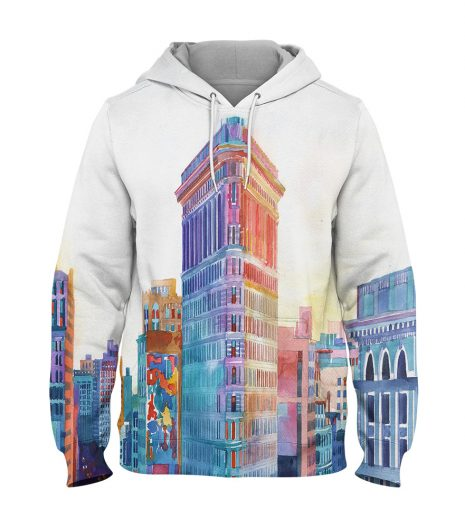 Water Colour Building- 3D Printed Pullover Hoodie