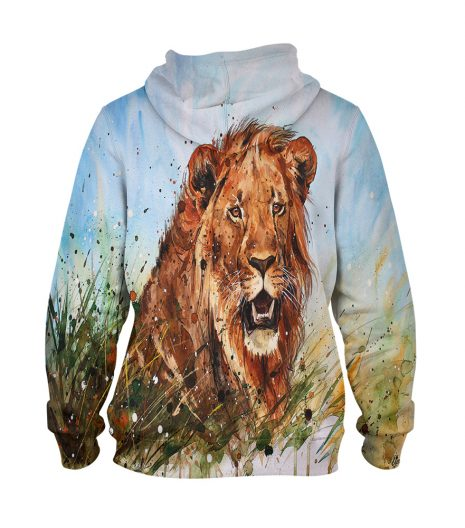 Water Colour Lion – 3D Printed Pullover Hoodie