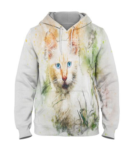 White Cat – 3D Printed Pullover Hoodie
