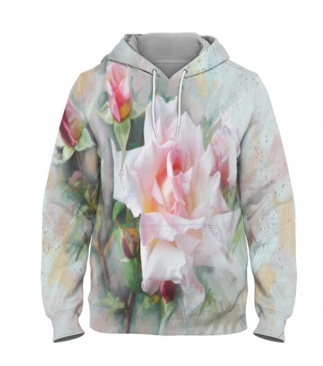White Flower – 3D Printed Pullover Hoodie