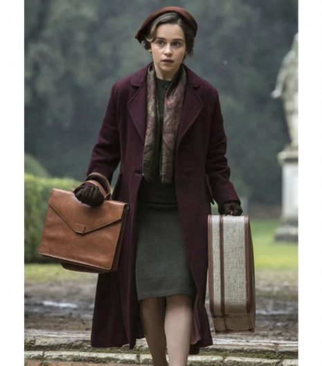 Voice From The Stone Emilia Clarke Maroon Coat