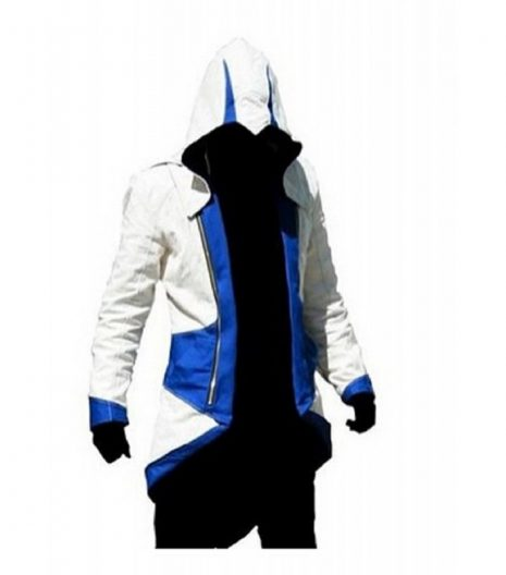 Assassins Creed III Connor Kenway Blue White Cotton Jacket Costume