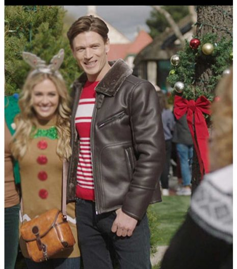 A Very Charming Christmas Town Sawyer Larsen Brown Leather Jacket
