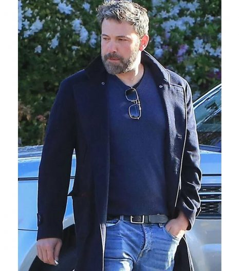 Ben Affleck Blue Wool Coat