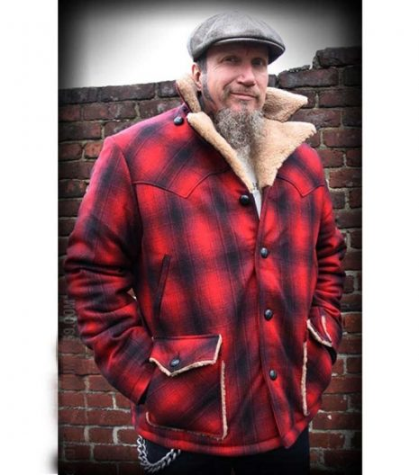 Cameron Red And Black Plaid Jacket With Shearling Collar