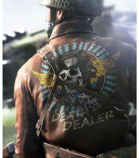 Battlefield 5 Death Dealer Skull Brown Leather Jacket