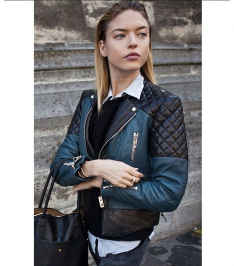 Fashion Model Martha Hunt Street Style Black and Pink Leather Jacket