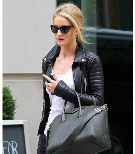 Rosie Huntington Whiteley Black Leather Jacket