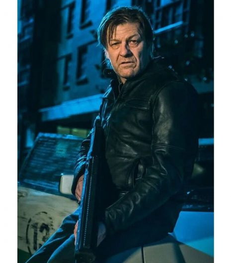 Curfew Sean Bean Black Moto Leather Jacket