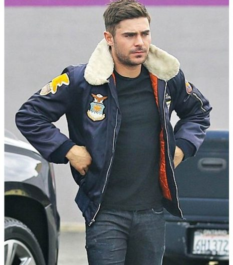 Zac Efron Bomber Leather Jacket