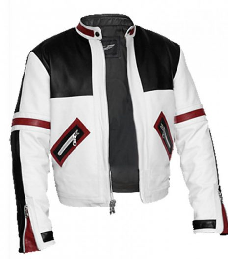 Chaser Box Black And White Biker Leather Jacket For Men